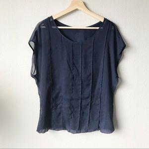 (Rose & Olive) Navy Blue Sheer Blouse Top